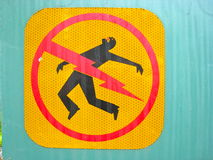 Danger electrocution sign. Beware of electricity nearby Royalty Free Stock Image