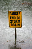 Danger end of storm drain sign Stock Photos