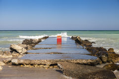 Danger eroded dam to the Black Sea Stock Photo