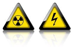Danger et panneaux d'avertissement 3D illustration de vecteur