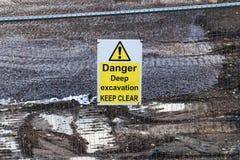 Danger Excavation. Warning sign of deep excavation Stock Photos