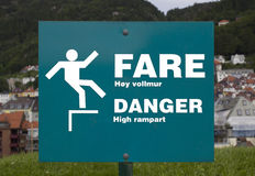 Danger of falling sign Royalty Free Stock Photography