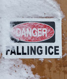 Danger Falling Ice Sign Royalty Free Stock Photography