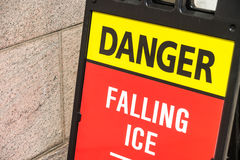 Danger Falling ice sign Royalty Free Stock Image