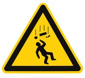 Danger Falling Objects Warning Sign Isolated Macro Royalty Free Stock Photography