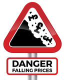 Danger Falling Prices UK Pound Road Sign. Illustration depicting falling prices represented by tumbling UK Pound signs crashing down a cliff on a red road sign Royalty Free Stock Photography