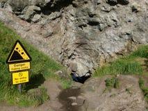 Danger, Falling Rocks Stock Photo