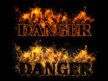 Danger in the fire. The inscription in the fire danger Stock Photos