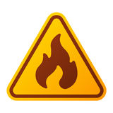 Danger fire warning attention sign icon. Attention fire flame icon danger button and attention warning sign. Attention security alarm symbol. Danger warning Royalty Free Stock Photos