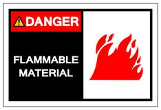 Danger Flammable Material Symbol Sign ,Vector Illustration, Isolate On White Background Label. EPS10. Danger Flammable Material Symbol Sign ,Vector Illustration stock illustration