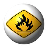 Danger flammable sign sphere. Sphere with danger flammable sign on exterior illustration Royalty Free Stock Photos