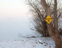 Danger frozen ice ahead Stock Images