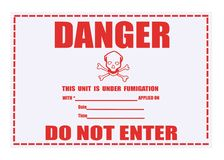 Danger Fumigation Waning Label Royalty Free Stock Photos