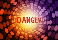 Danger futuristic background - danger with red and purple blurred dots - Abstract futuristic backdrop - Warning. Danger bokeh lights futuristic background Stock Images