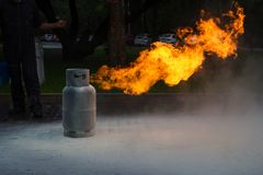 Gas Flame from Gas Tank Stock Photo