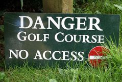 Danger Golf Course No Access Sign. No entry sign Royalty Free Stock Photo