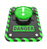 Danger, green help button Stock Photography