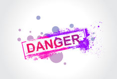 Danger grunge tag. With ink splat background, vector illustration Royalty Free Stock Images
