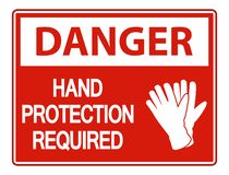 symbol Danger Hand Protection Required Wall Sign on white background stock illustration