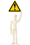 Danger And Hazard Sign in dummy hand Royalty Free Stock Images