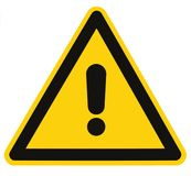 Danger Hazard Triangle Warning Sign Isolated Macro Stock Image