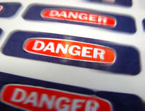 Danger Hazard Warning Labels Urgency Blur Royalty Free Stock Image