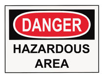 Danger Hazardous Area Sign. OSHA danger hazardous area warning sign isolated on white royalty free stock images