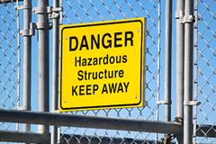 A Danger Hazardous Structure Keep Away sign Royalty Free Stock Images
