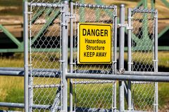 A Danger Hazardous Structure Keep Away sign Royalty Free Stock Photography