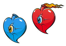 Danger heart with eye Stock Images