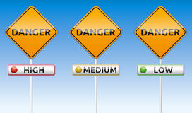 Danger - high, medium, low. Isolated  Danger traffic board with high, medium, low label Royalty Free Stock Image