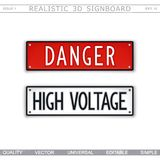 Danger. High voltage. Warning signs. 3D signboard. Top view. Vector design elements Royalty Free Stock Images