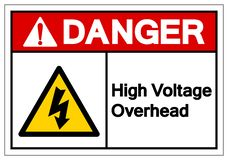 Danger High Voltage Overhead Symbol Sign, Vector Illustration, Isolate On White Background Label .EPS10 royalty free illustration