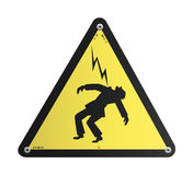 Danger High Voltage panel. Yellow danger High Voltage panel, a man take a lighting Stock Photos