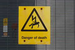 Danger High Voltage risk of Death sign Royalty Free Stock Photography