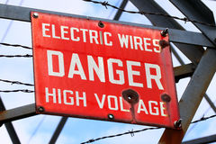 Danger High Voltage Sign. Danger Sign on a powerline tower warning of High Voltage Royalty Free Stock Photos