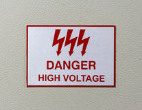 Danger high voltage sign Stock Photos