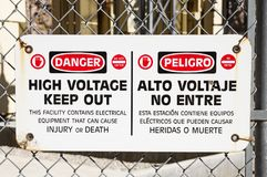 Danger High Voltage Sign Stock Photography
