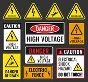 Danger high voltage signs Stock Image