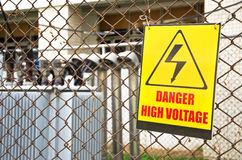 Danger high voltage warning sign Royalty Free Stock Images