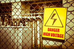 Danger high voltage warning sign Royalty Free Stock Photography