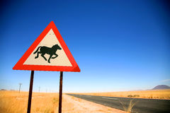 Danger Horses Road Sign Stock Photo