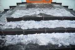 Danger house frozen steps. Ice covered entrance home slippery stair case royalty free stock images