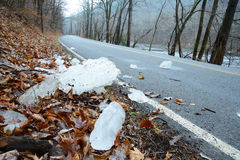 Danger-ice chunks falling in the road. Royalty Free Stock Photography