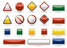 Danger icon elements. Isolated  danger, warning, prohibition icon, sign, symbol collection set with reflection and shadow on white background Royalty Free Stock Photo