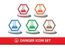 Danger icon set with grunge pattern. Chemical warning icon. stock illustration