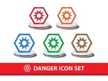 Danger icon set with grunge pattern. Explosive warning icon. Danger icon set with grunge pattern. Explosive warning icon,  graphic Royalty Free Stock Photography