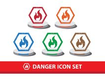 Danger icon set with grunge pattern. Fire warning icon. Danger icon set with grunge pattern. Fire warning icon,  graphic Royalty Free Stock Photography