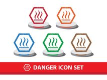 Danger icon set with grunge pattern. Heat warning icon. Danger icon set with grunge pattern. Heat warning icon,  graphic Royalty Free Stock Photography