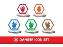 Danger icon set with grunge pattern. Oxidation substance warning. Icon,  graphic Stock Photo